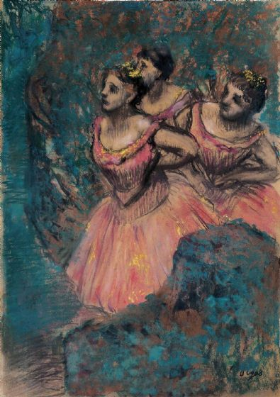 Degas, Edgar: Three Dancers in Red Costume. Fine Art Print/Poster. Sizes: A4/A3/A2/A1 (003772)